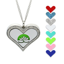 BOFEE Crystal Aromatherapy Oil Diffuser Necklace Pendant Silver Heart Shape Lotus Stainless Steel Locket Essential Jewelry Gift