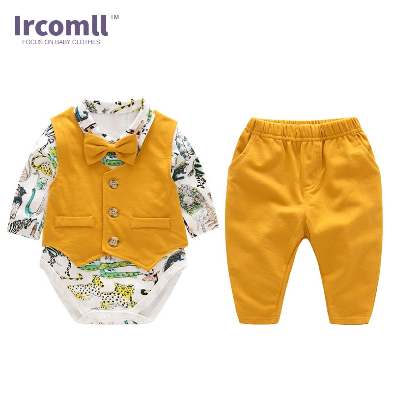 Fashion Baby Boys Gentleman Clothes Sets Hight Quality Cotton New Year Yellow Zoo Bow Tie Newborn Baby Boy Vest+Jumpsuit+Pants