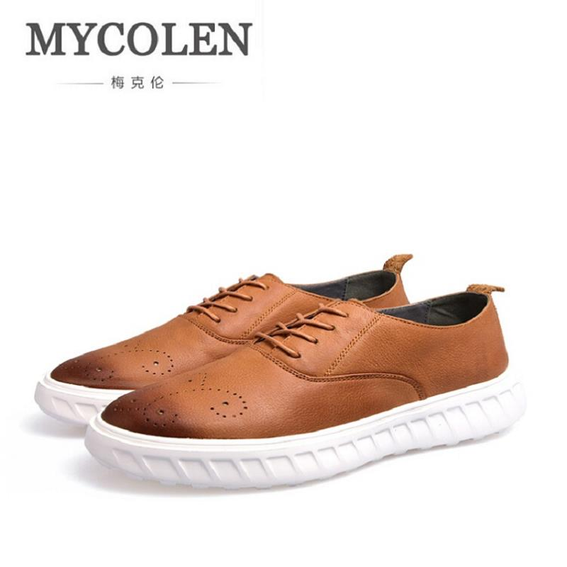 MYCOLEN Brand Men Comfortable Retro Shoes Winter Top Quality Fashion Lace up Shoes Casual Men Leather Autumn Shoes Brown zapatos klywoo new white fasion shoes men casual shoes spring men driving shoes leather breathable comfortable lace up zapatos hombre