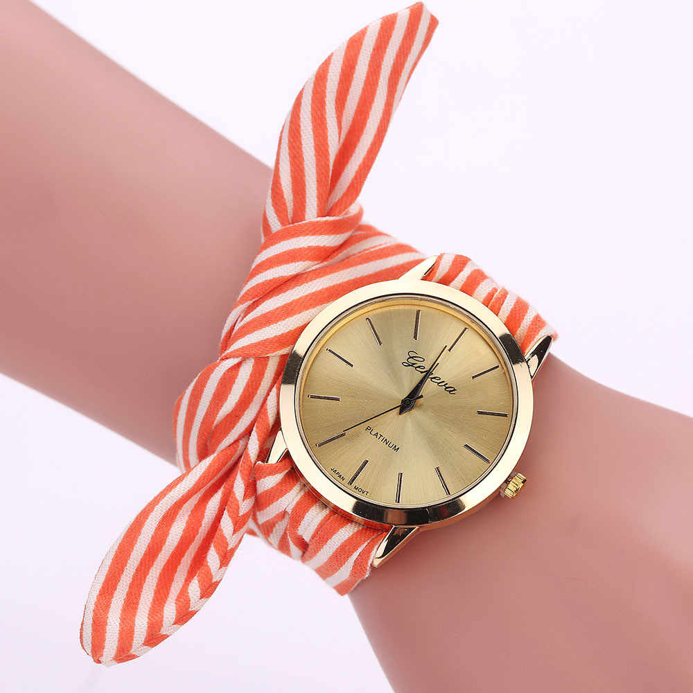 Fashion Women Ladies Watches Bow design Stripe Floral Cloth Quartz Bracelet Wristwatch montre bayan kol saati relogio feminino