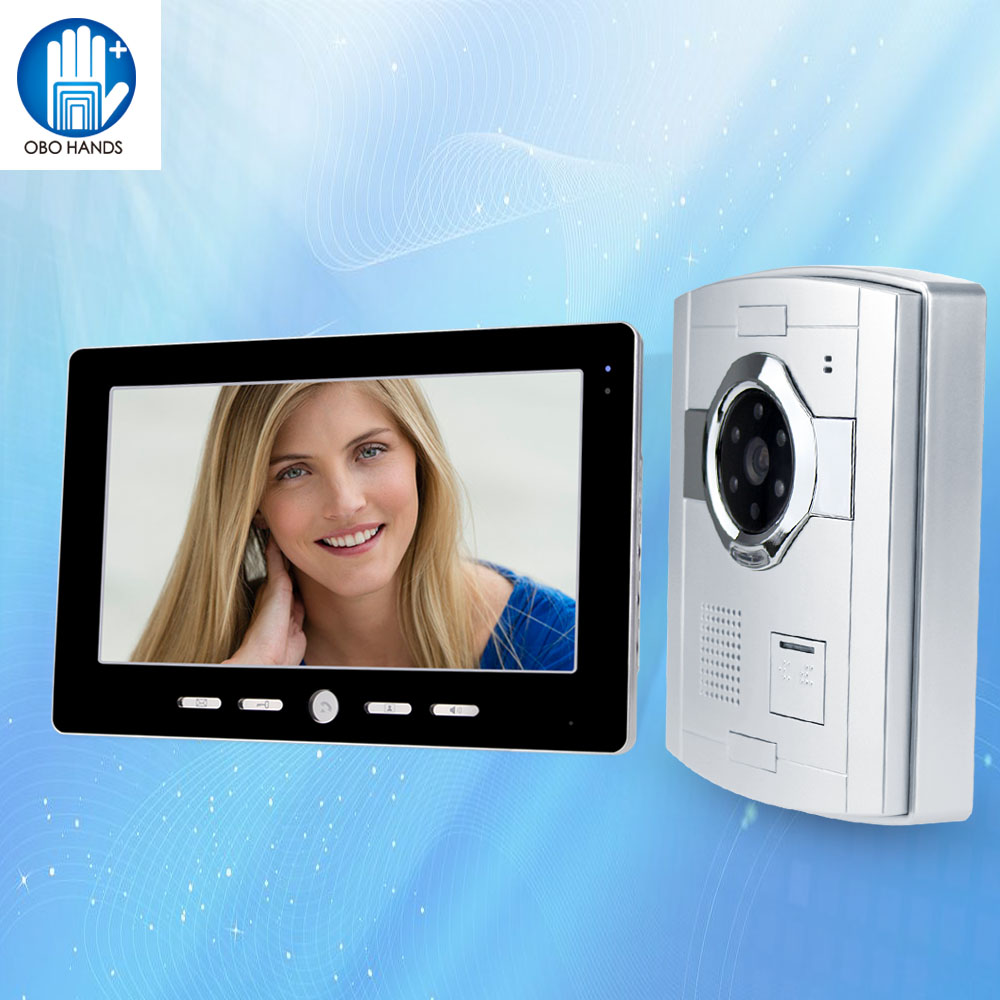 10'' TFT Color Wired Video Doorbell Doorphone Intercom System With IR COMS Outdoor Camera Night Vision+Indoor Monitor Screen 7 inch video doorbell tft lcd hd screen wired video doorphone for villa one monitor with one metal outdoor unit rfid card panel