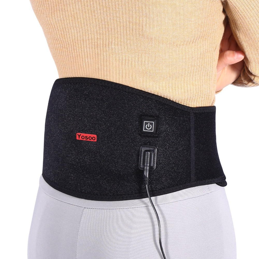 Yosoo Waist Heating Pad Belt Muscle Back Warmer Corset Lower Back Heat Wrap Support For Women Period Pain Relief Men Lumbar Care quality physiotherapy electric heating vest back support shoulder pad vest heated shawl suitable for back pain relief