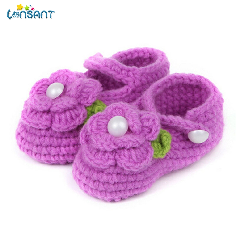 LONSANT 2018 Crib Crochet Casual Cute Baby Girls Handmade Knit Sock Infant Rose breathable 1Pair Shoes