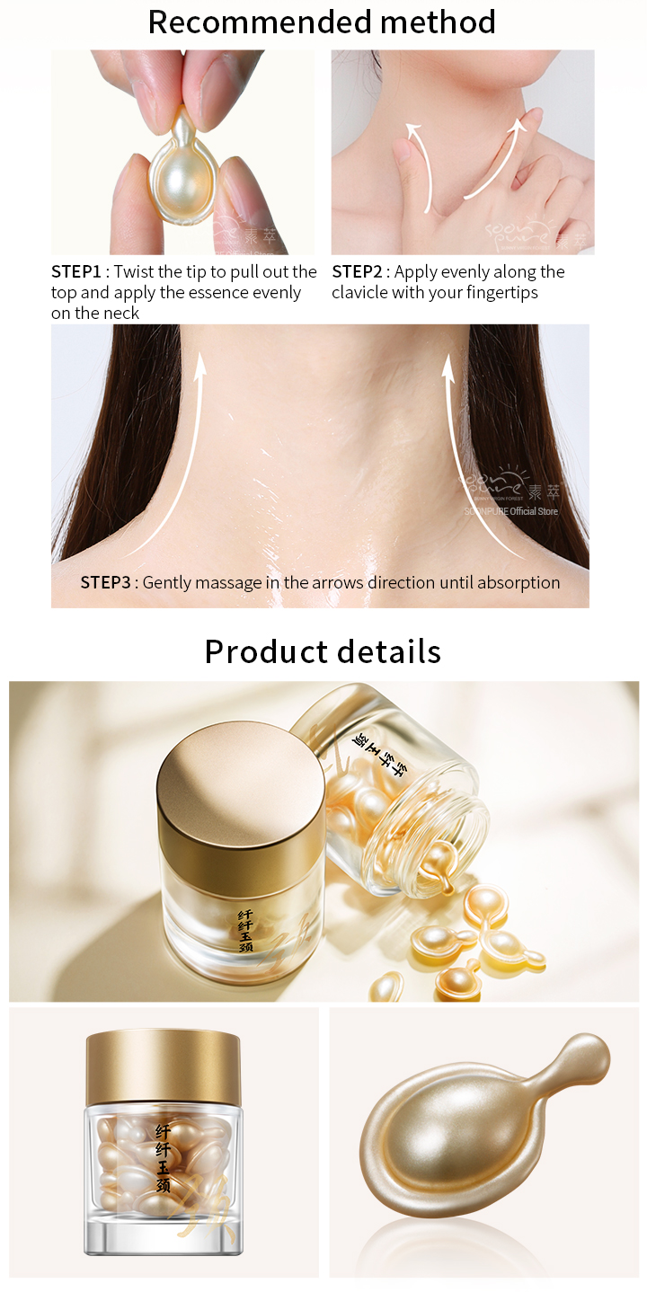 US $15 99 40% OFF|SOONPURE Anti Wrinkle Neck Capsule Firming Essence Anti  Aging Neck Skin Care Moisturizing Nourishing Serum Tighten Neck Cream -in