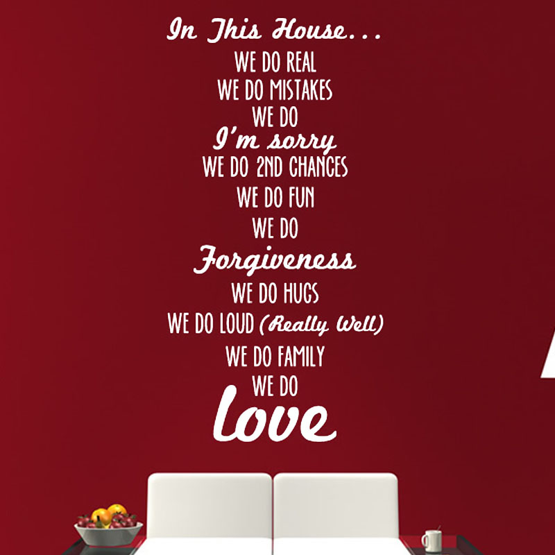 House Rules Text Stick On Living Room Wall Sticker Vinyl Removable Home Decor Self Adhesive Wall Decals