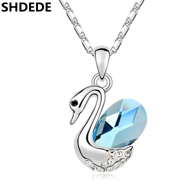 SHDEDE High Quality Crystal from Swarovski Swan Pendant Necklace Woman  Fashion Jewerly Female Ladies Accessories -10955