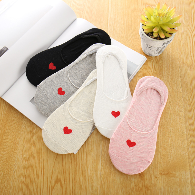 1 Pair Small Red Heart 5 Colors Women Invisible Socks Female Cotton Socks FreeSzie 35-40