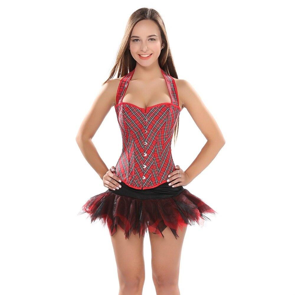 Women Straps Red Grid Boned Overbust   Corset   Top Slim Body Shaper Halter Neck   Bustier   With tutu Skirt Sexy   Corset   Dress