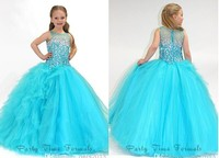 free shipping 2016 NEW hot sale ball gown beading crystal custommade Flower Girl Princess Wedding Pageant Party Brithday Dress