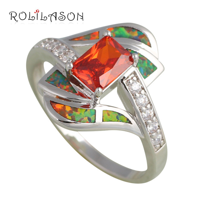 Orange fire opal ring 2