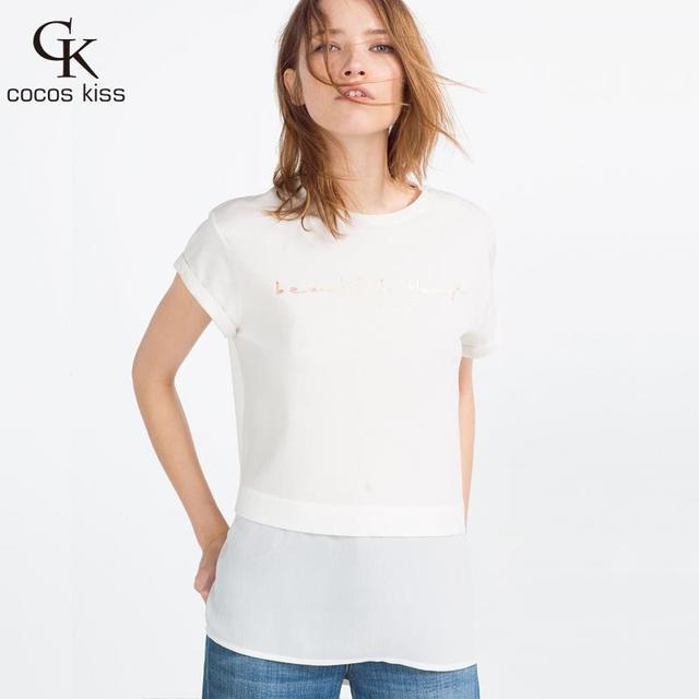 Creativo de verano 2016 Algodón femenino carta de estampación en Caliente ladys Para Mujer chaleco de algodón de manga corta Camisetas tops camisetas