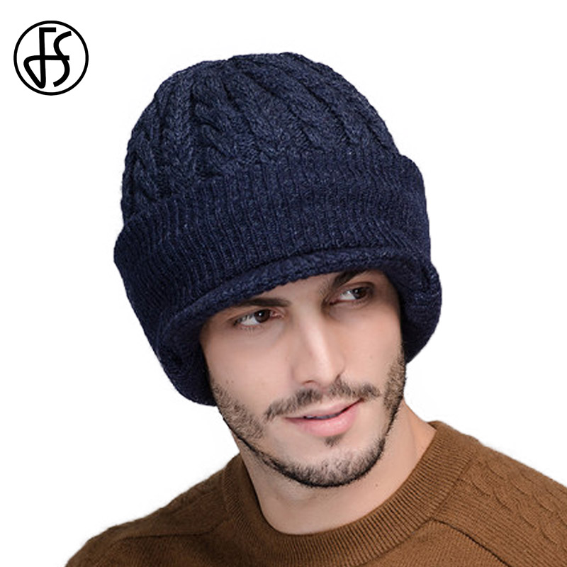 FS Neck Warmer Winter Hat Wool Knit Cap For Men Fleece Knitted   Beanie   Hats Men   Skullies     Beanies   Casquette