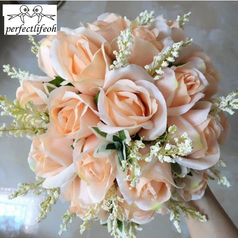 Korean Wedding Flowers: Free Shipping Wedding Bouquet Rice White, Champagne Roses
