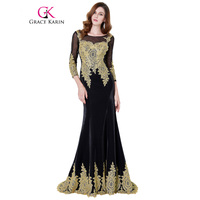 Grace Karin Sexy Long Winter Mermaid Evening Dress 3 4 Long Sleeve Appliques Black Golden Prom