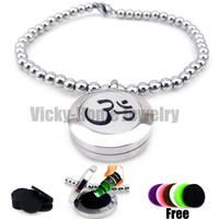 round-silver-om-design-20mm-bead-bracelet-aromatherapy-essential-oils-aromatherapy-locket-stainless-steel-with-felt-pads