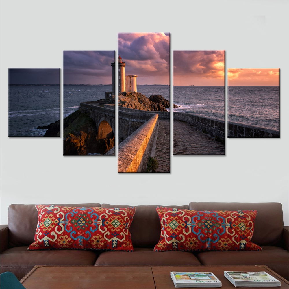Painting Modern Art Print Poster 5 Pieces/Set Lighthouse