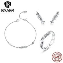 BISAER Romantic Angel Wing Jewelry Sets 925 Sterling Silver Statement Wedding For Women Best Gift HPS115