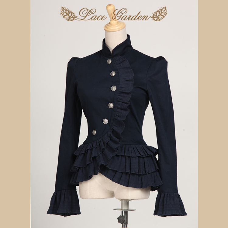 Vintage Navy Blue Ruffles Layered Women