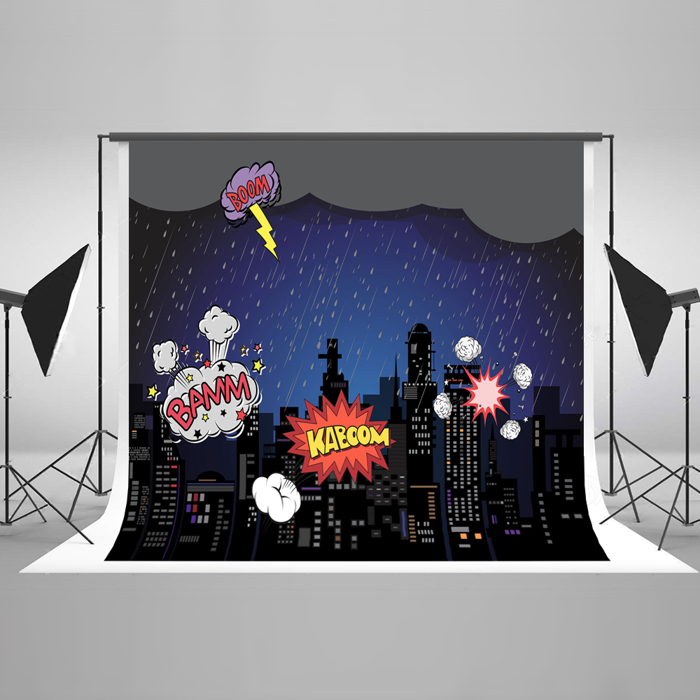 Kate 200x300cm (6.5x10ft)Cartoon City Photo Background Photography Backdrop Building Childen Backgrounds For Photo Studio capisco super city photography backdrop theme building studio super hero photo background prop for photography party