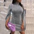 Женское облегающее платье с высоким воротником и Расклешенным рукавом