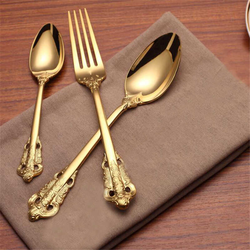 Retro Vintage Embossed Carve Gold Tableware Set Long Handle Spoons & Forks Ice Cream Tea Coffee Spoon Home Tableware