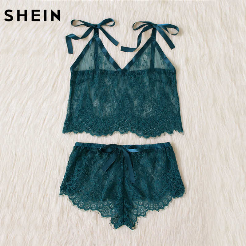 ... SHEIN Womens Pyjamas Sleepwear Green Spaghetti Strap Tie Shoulder V  Neck Eyelash Lace Cami and Shorts ...