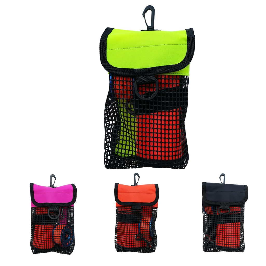 Portable Lightweight Mesh Bag Scuba Diving Reel Snap SMB Safety Marker Buoy Mesh Gear Bag Equipment Holder Carry Pouch Colorful