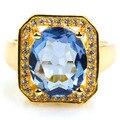 6 # Романтическая Лондон Голубой Топаз, белый Топаз SheCrown женщины Созданы Золото Серебро Кольцо 15 х 14 мм