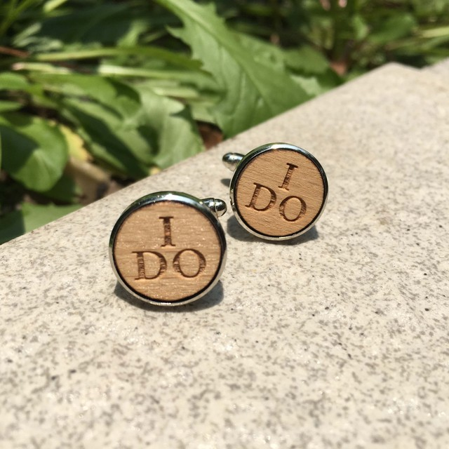 I Laser Cut Wood Cufflinks Rustic Wedding Groomsmen Wooden Cuff Links X 1 Pair