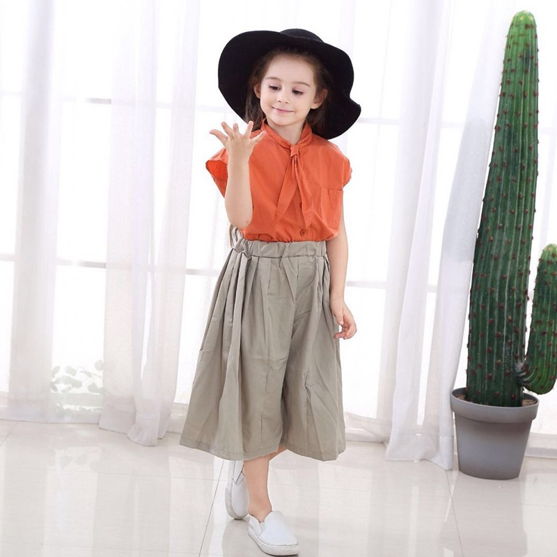 Girls Clothing Sets 2019 Summer Fashion Girls Sleeveless Splicing Design Orange T shirt Casual Pants 2Pcs Kids Girls Clothes in Clothing Sets from Mother Kids
