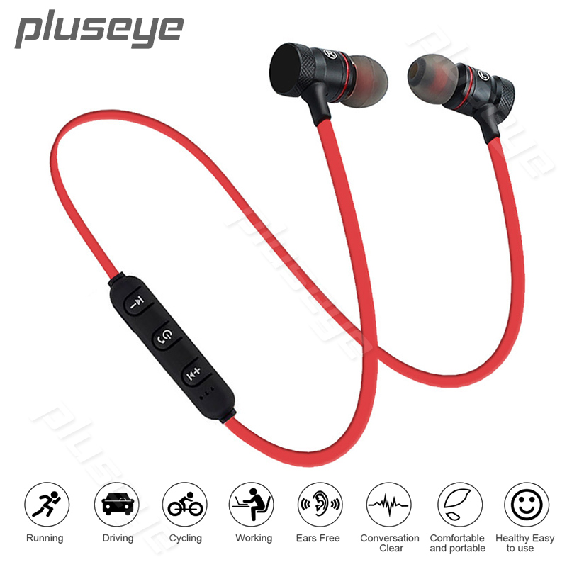 Pluseye Magnetic Bluetooth Headset Wireless Earbuds Stereo Sport earphone with Mic for Xiaomi huawei fone de ouvido qkz ck5 earphone sport earbuds stereo for apple xiaomi samsung music cell phone running headset dj with hd mic fone de ouvido
