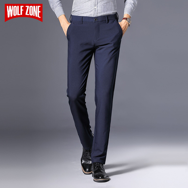 6afc949ab32 WOLF ZONE Brand Business Casual Pants Men New Fashion Regular Straight  Spring Classic Male Trousers Mens Brand Clothing 3 Colors ~ Free Delivery  May 2019