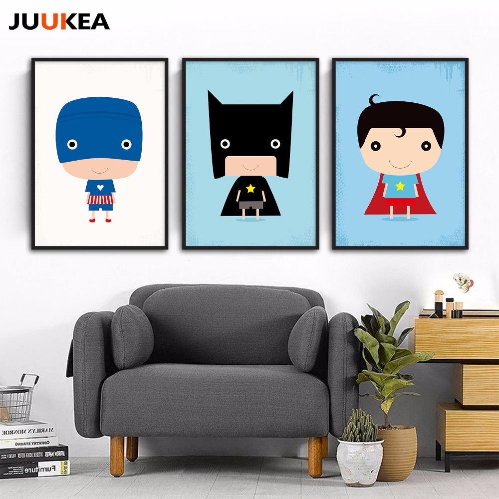 Cartoon Illustration Superhero Canvas Painting Poster Home Decor