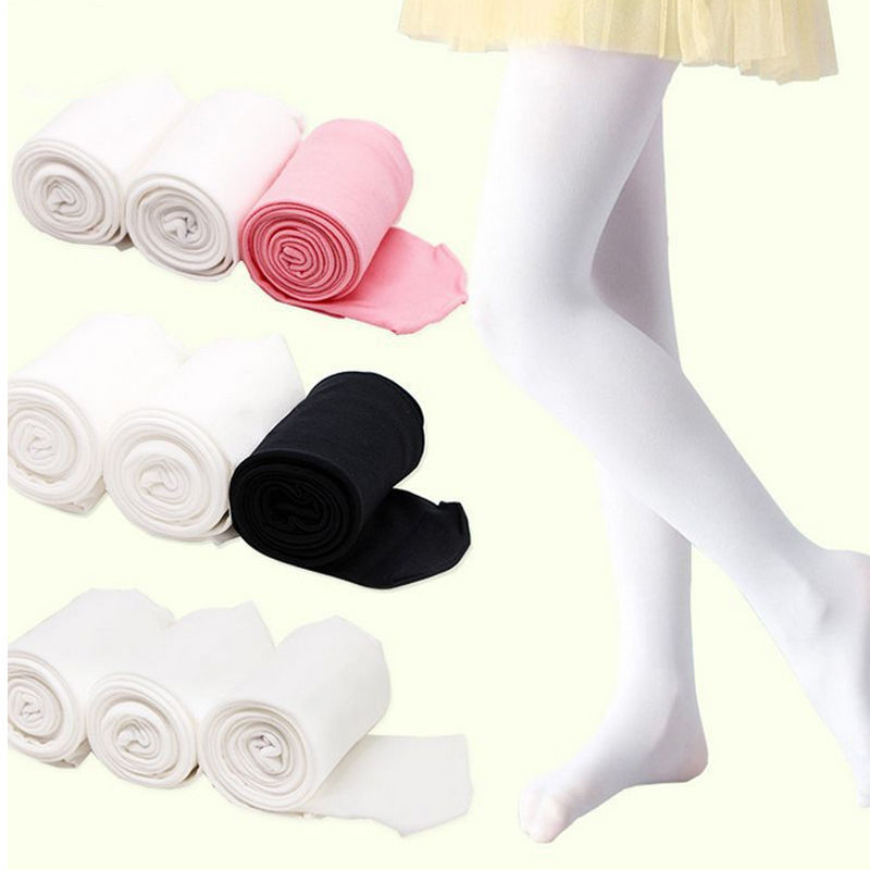 Children Girls Solid Ballet Stockings Dance Footed Tights pantyhose Black White Pink Stockings For Ballet Dancerr