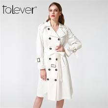 Talever Autumn Winter Women's Trench Coat Adjustable Waist Slim Solid Black Coat White Long Trench Female Outerwear Plus Size