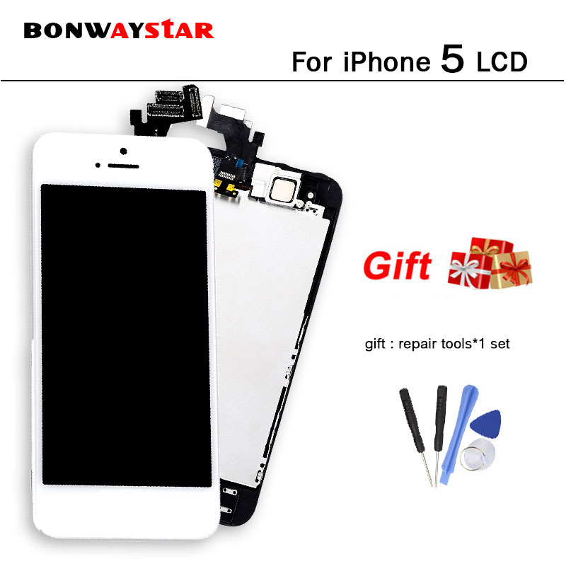 For iphone 5 5G A1428 A1429 A1442 LCD Display Full Assembly Touch Digitizer Screen Replacement+Front Camera+Home Button+tools