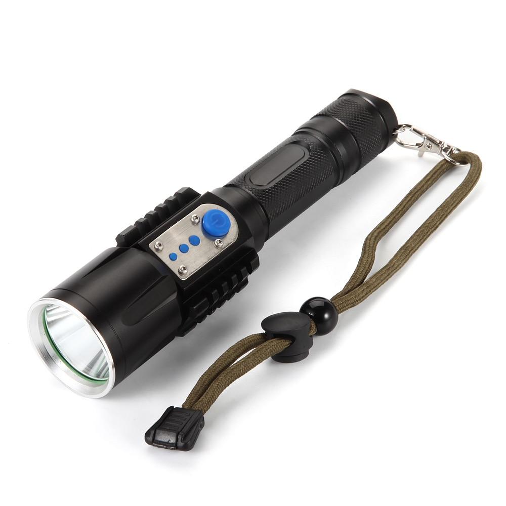 USB LED Flashlight 3800 Lumen XM L U2 Tactical Torch Multifunctional Charging Flashlight Camping hunting lights USB cable in LED Flashlights from Lights Lighting