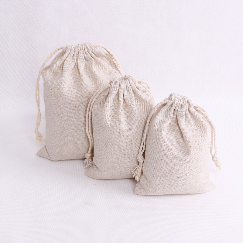 100pcs/lot Natural Color Cotton Bags Small Party Favors Linen Drawstring Gift Bag Muslin Pouch Bracelet Jewelry Packaging Bags