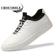 d1c930b90 Coccodrillo Originale Uomini della Scarpa Da Tennis In Pelle Da Jogging  Piatto Pattini per Mens Skateborading