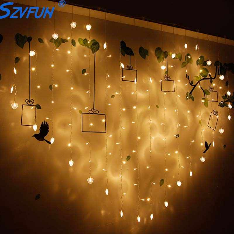Szvfun 2x1.5 m Hart Liefde Shape LED String Verlichting Flasher Fairy 128 Led Gordijn Lichten Lichterkette Partij Kerst decoraties