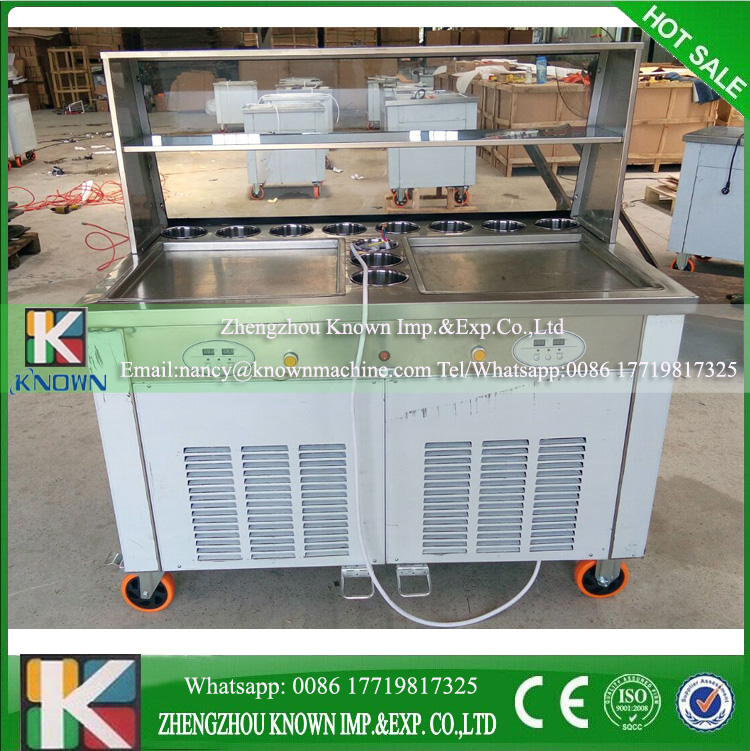 Double square pan with 11 topping cooling pans Double pressure ice frying machine Double Pan Fried Ice Cream Machine double pressure ice frying machine double pan fried ice cream machine