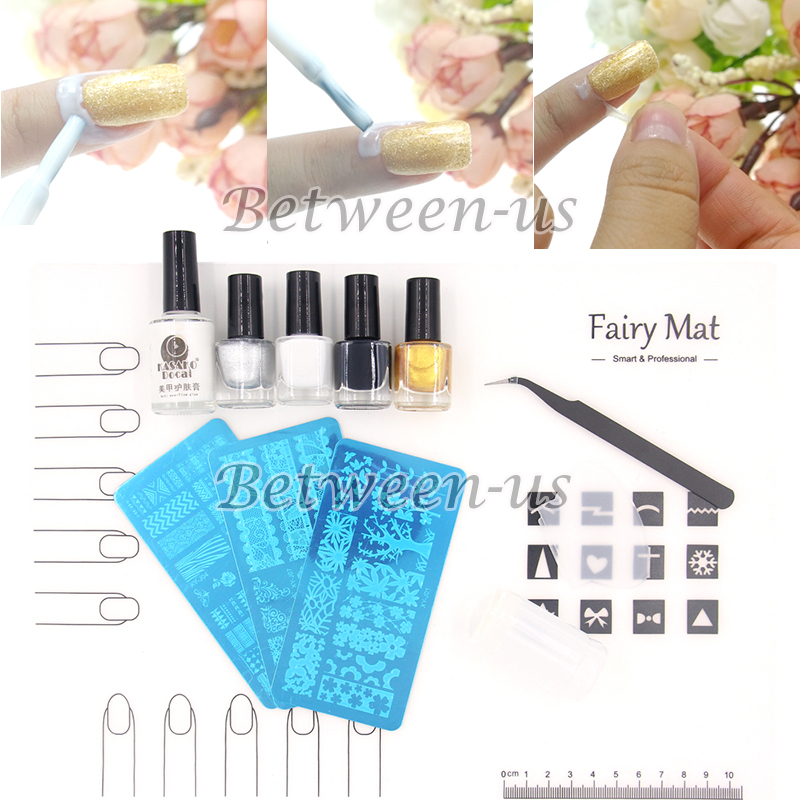 PRO Nail Art Soft Silicone Mat Work Space Protector Pad Nail Stamper Scraper Stamping Plates Peel Off Liquid Tape Polish Set