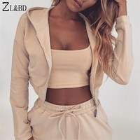 ZL&BD Casual Sportwear Tracksuit Set Women Autumn Two Pcs Set Cropped Hoodies and Pants Set Womens Suits Set 2 pieces ZA1066