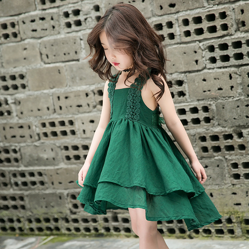 2018 Girls Dress Kids Summer Green Evening Party Dresses Baby Girls Sleeveless Princess Dress For 2-10 Years Children Clothing 2017 3 14y summer mint green party evening dresses kids dresses for girls sleeveless mesh lace dress children vestidos mujer d25