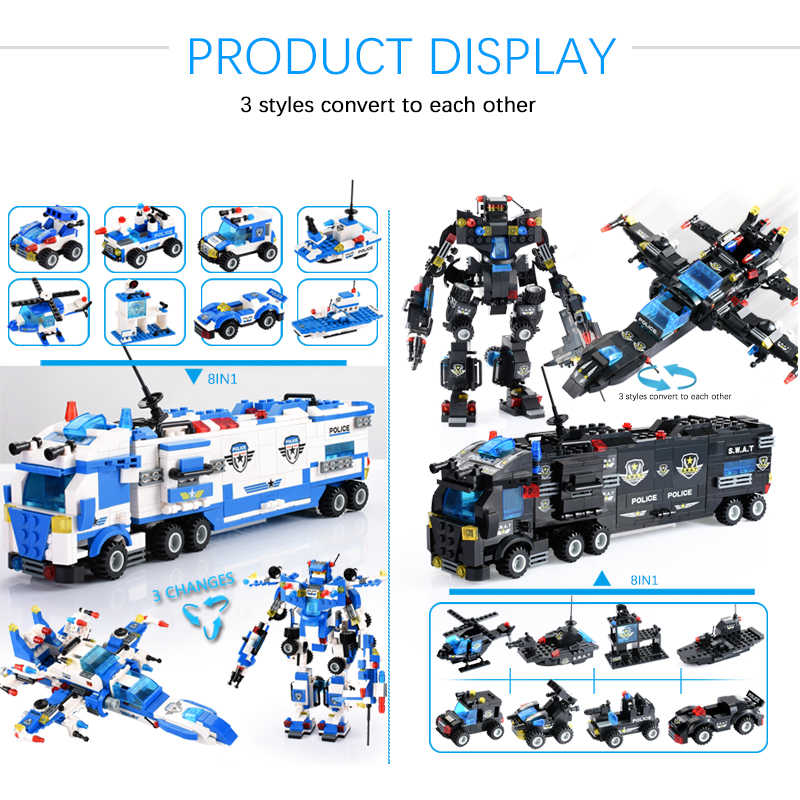 Diy City Politie Bouwstenen Voertuig Auto Helicopter Bouw Bouwstenen Diy Bouwstenen Speelgoed Voor Kinderen Gift