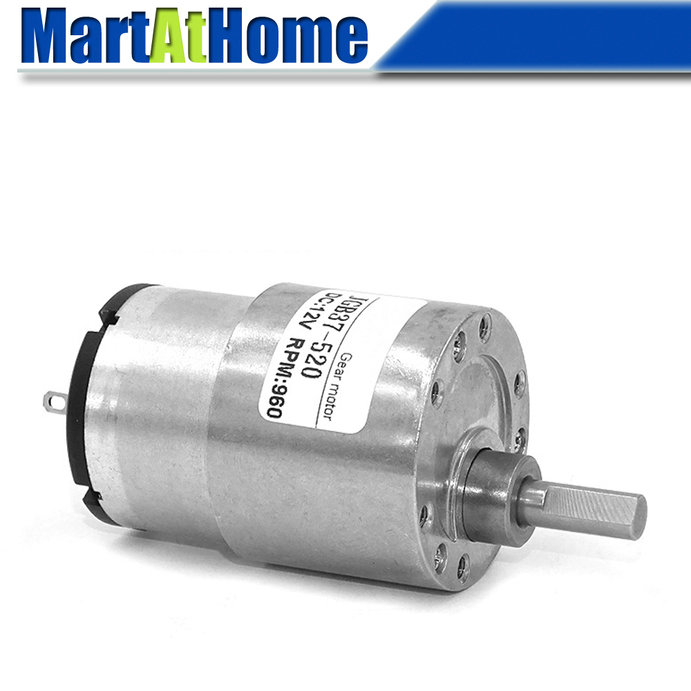 High Torque Micro DC Geared Motor with Gearbox JGB37-520 DC 12V 24V Max. 35KG.CM 7~960 RPM