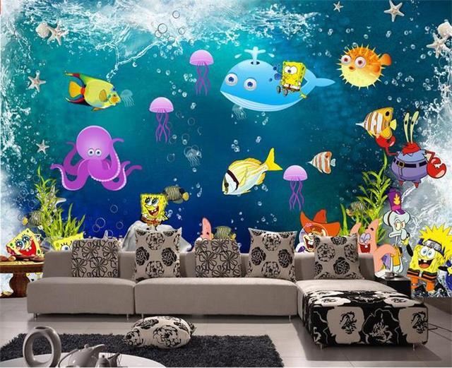 3d Room Wallpaper Custom Non Woven Murals Undersea World Cartoon