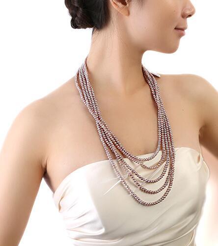 Пять Strand 4x5 мм натуральный Лаванда пресноводного жемчуга Цепочки и ожерелья 28 29 30.5 32 дюймов