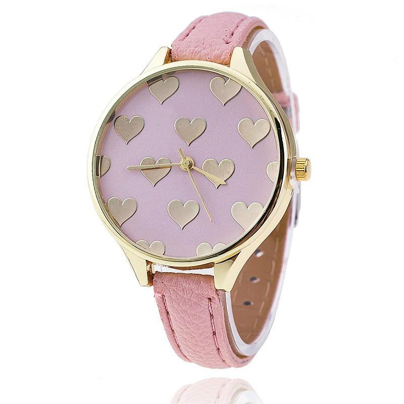 Womens Love Heart Pattern Watches Brand Luxury School Girls Watch ...