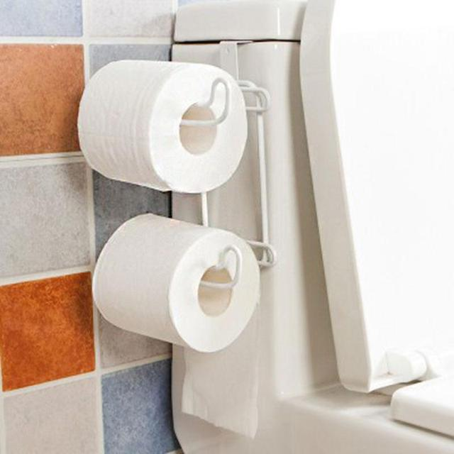 Universal 2 Layers Kitchen Bathroom Tissue Towel Rack Hanging Hook Paper  Storage Holder